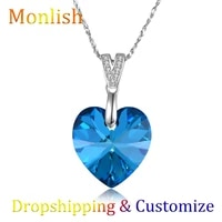 womens necklace with blue cubic zirconia monlish luxury brand 925 sterling silver dainty necklace for women dropshipping