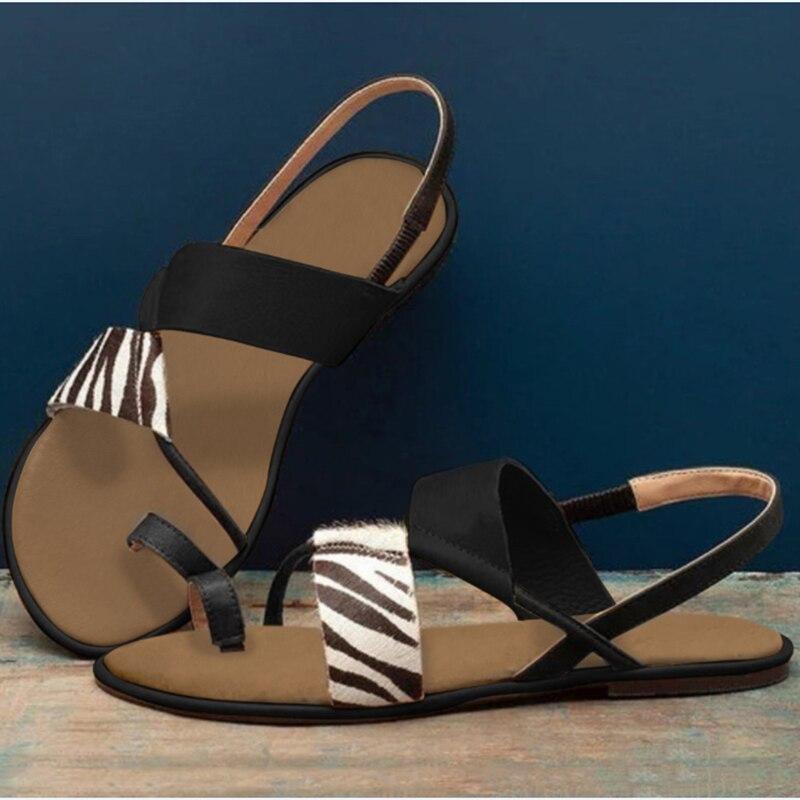 2020 Womens Summer Sandals Ladies Zebra Flat Heel Flip Flops Slip On Sandals Woman Casual Comfort Beach Female Fashion Shoes