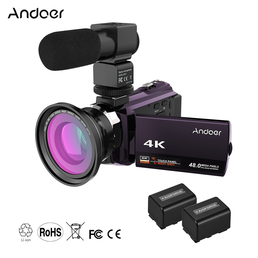 Promo Andoer WiFi Digital Video Camera 4K 1080P 48MP Camera Camcorder Recorder w/2pcs Rechargeable Batteries 0.39X Wide Angle Lens Mic