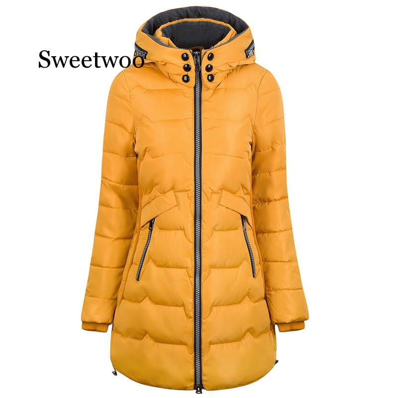 new mens long parka hooded thick warm cotton padded coat solid winter clothing size m 6xl t130 2020 Thicken Plus Size 6xl 7xl Cotton Long Coat Winter Jacket Parka Women Thick Slim Long Warm Hooded Padded Parkas Female