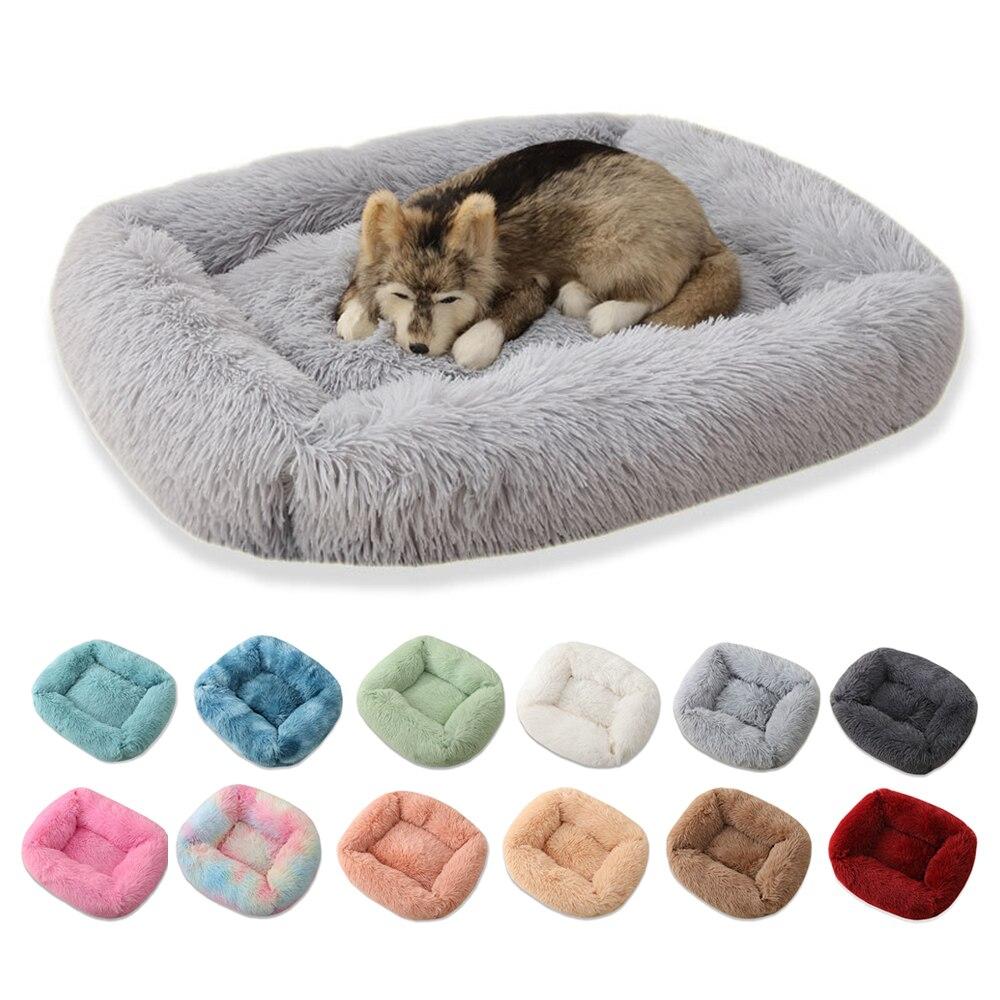 Suave cálido grueso corto de felpa aterciopelada cama de perro lavable para perro grande cesta de perro lecho de mascota caseta Casa de perro terciopelo Mat sofá