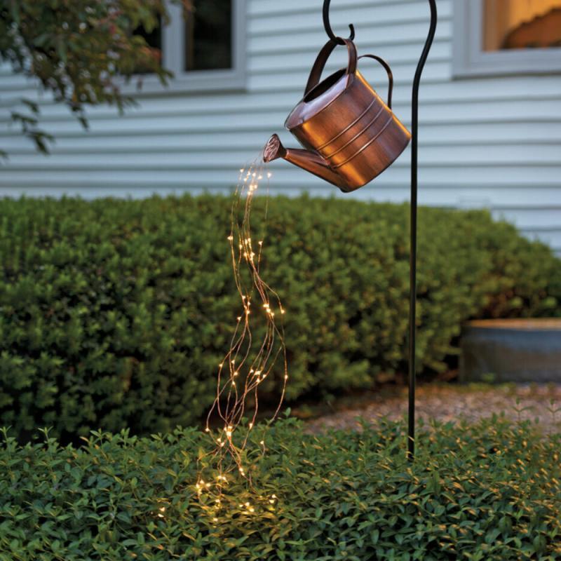 سلسلة سقي من الحديد المطاوع مع مصباح ، تعمل بالبطارية ، إبداعي ، افعلها بنفسك ، نجمة صغيرة ، فناء ، حديقة ، فن ، منزل ، عطلة ، ديكور حفلات