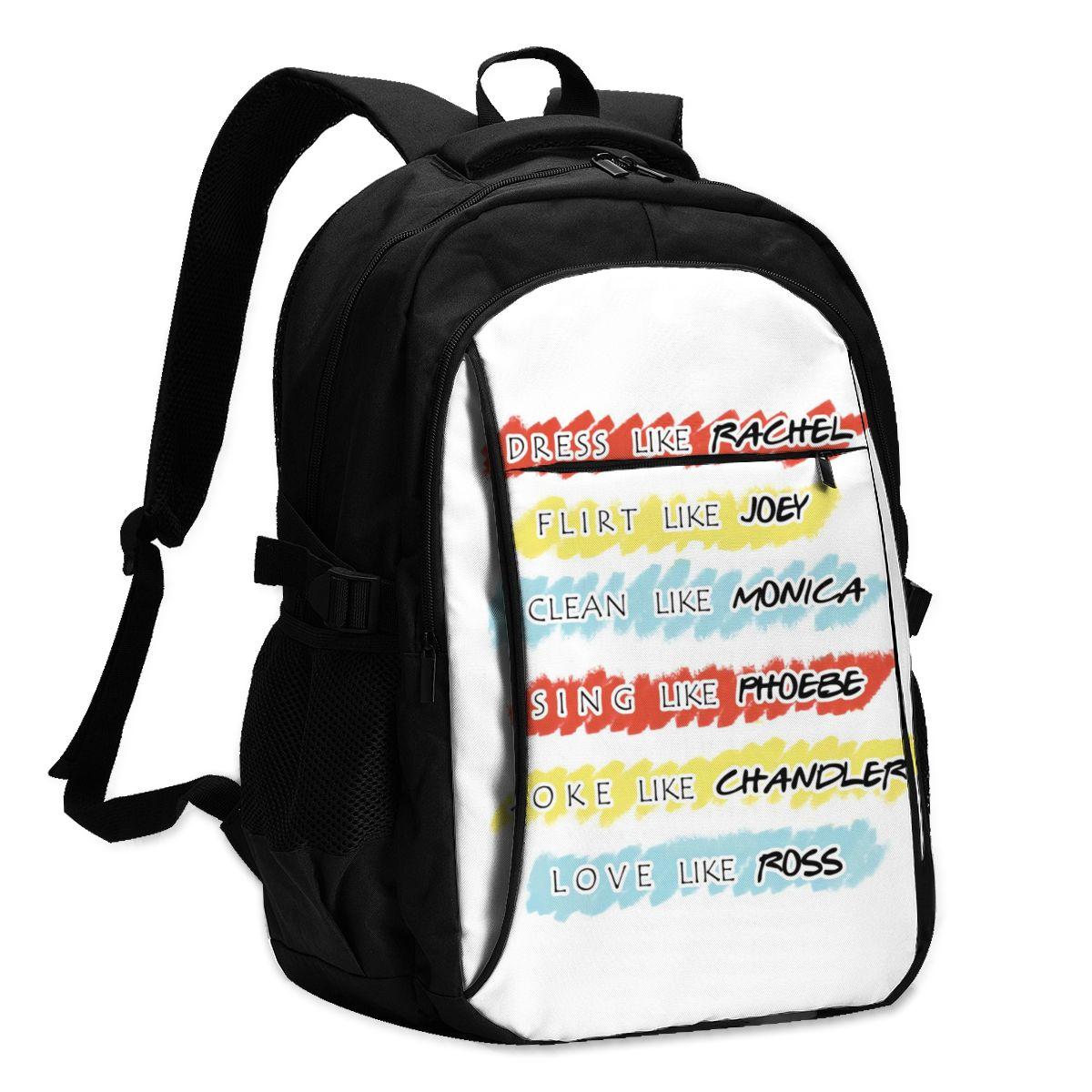 الأصدقاء التلفزيون حقائب الظهر شاحن USB المدرسة الابتدائية الشباب على ظهره حقائب لينة عالمية