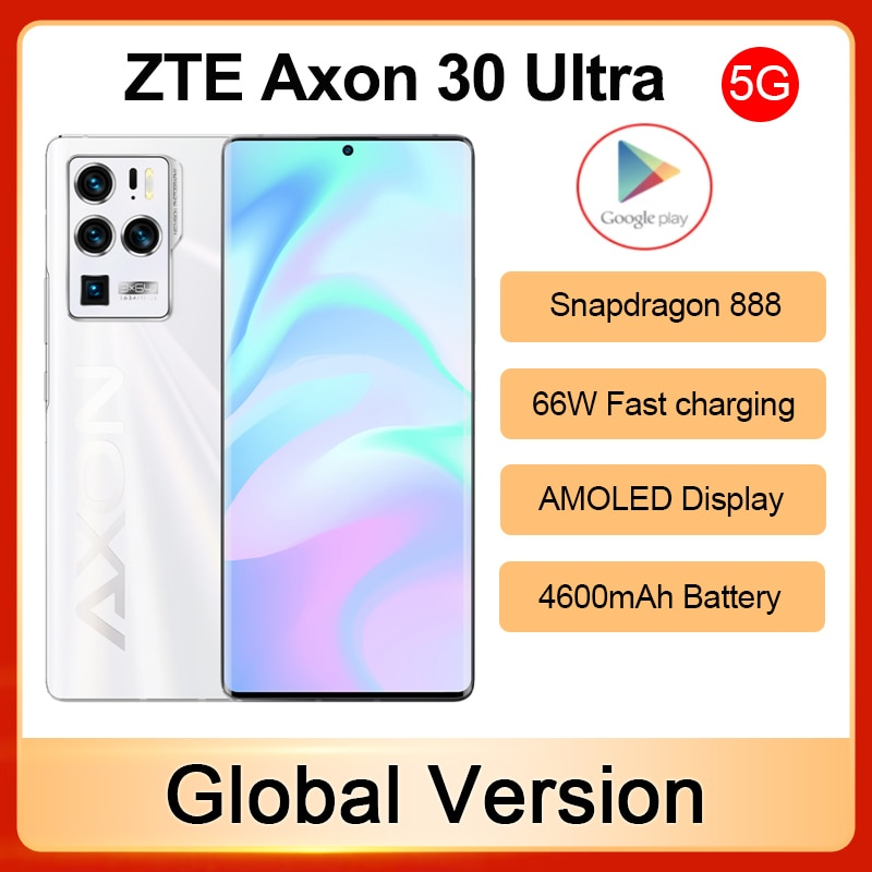 Global ZTE Axon 30 Ultra 5G Smartphone Snapdragon 888 Fast charging 66W 4600mAh Battery Android 11 AMOLED Display Mobile Phone