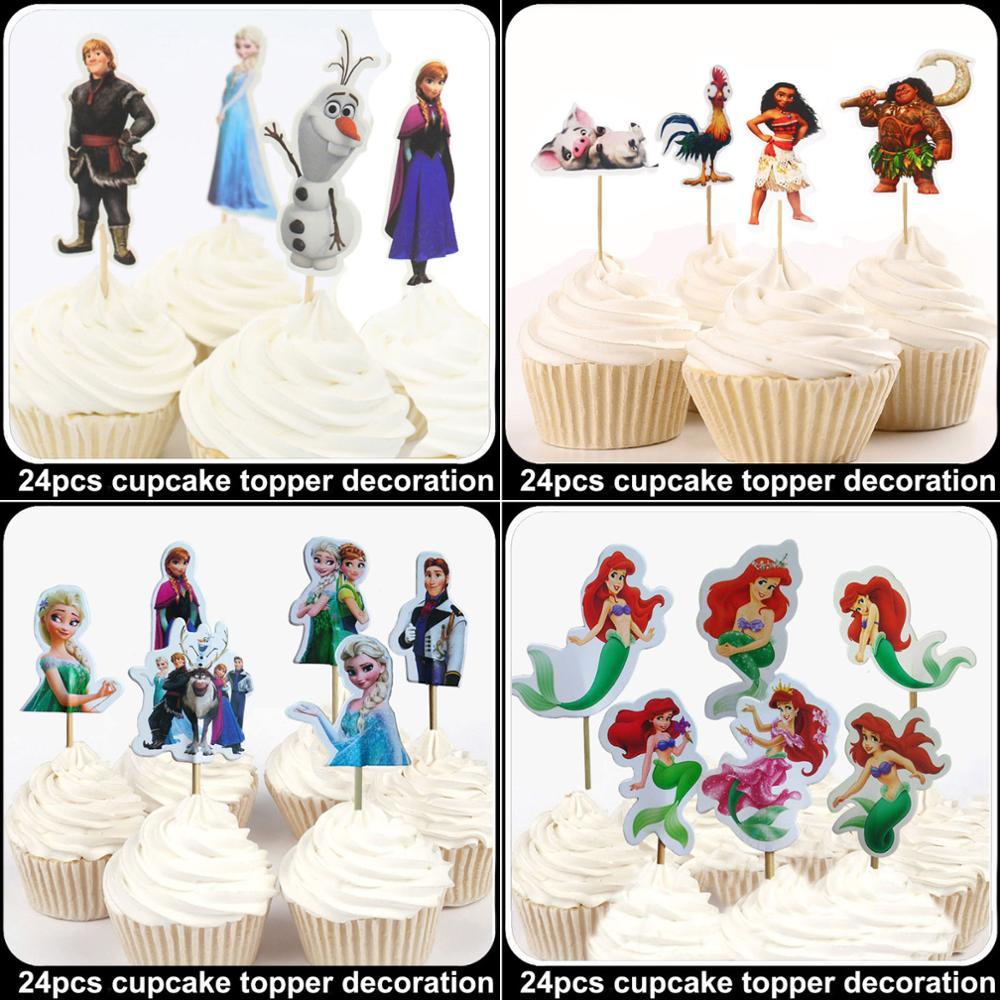 24Pcs Disney Moana Ariel Bella Princess Cupcake Toppers Picks Kid Baby Birthday Party Cake Decorations Baby Shower Fruit Picks