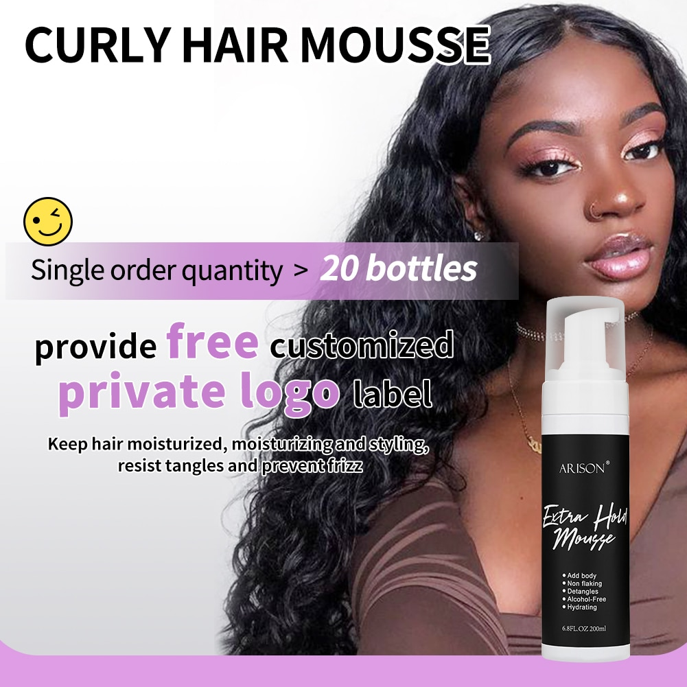 airsonhair 200ml Curly Hair Mousse Anti-Frizz Fixative Hair Foam Mousse Strong Hold Hair Mousse Define Curly Hair Finishing