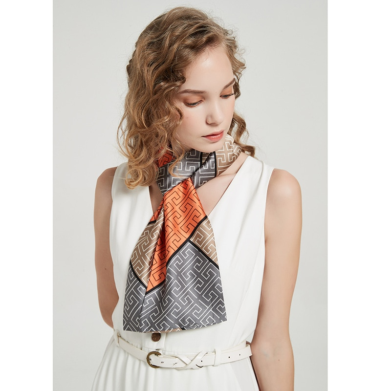 2021 new fashion women senior designer silk scarf print satin scarf  designer Leopard Print  Scarf leopard print skinny scarf