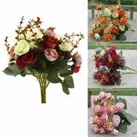 42 heads artifical rose silk flowers wedding bouquet bunch office home decor