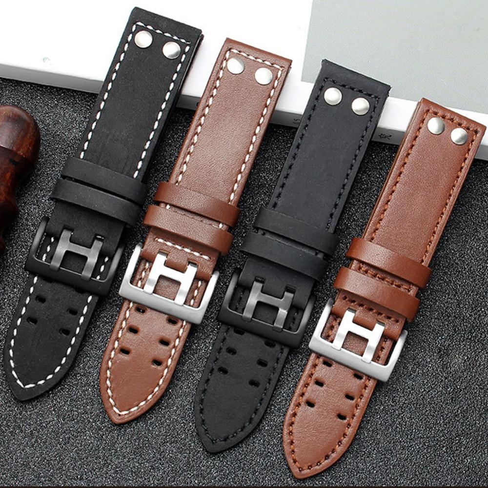 20mm 22mm Genuine Leather Strap for Hamilton Watch Band Rivet Men Military Pilot Khaki Field Aviatio