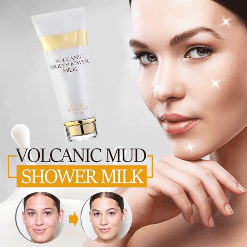 Crema corporal de baño de leche de barro volcánico blanqueadora loción corporal Exfoliante para hombres y mujeres SMJGood