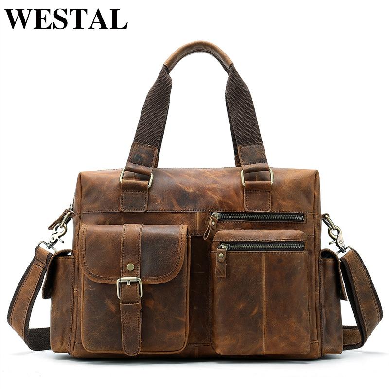 WESTAL-حقيبة كمبيوتر محمول جلدية للرجال ، حقيبة كتف للرجال ، حقائب مكتب ، مستندات أعمال