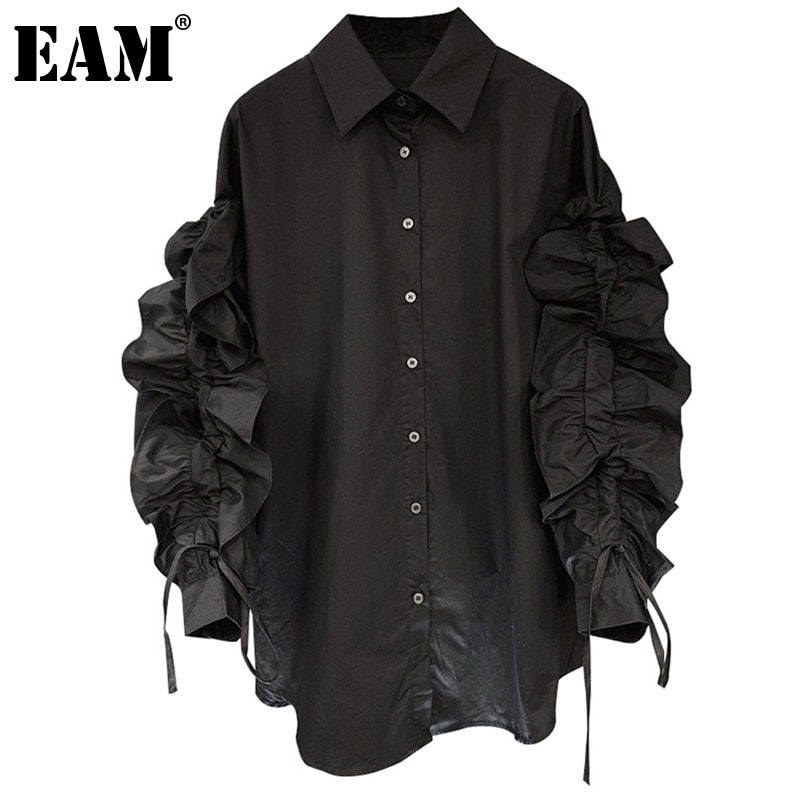 [EAM] Women Black Drawstring Ruffles Blouse New Lapel Long Puff Sleeve Loose Fit Shirt Fashion Tide Spring Autumn 2021 1DD3863