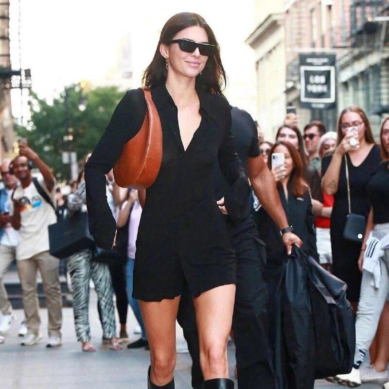 Модная Осенняя длинная рубашка, топ 2021, дизайнерская длинная рубашка с вырезами сзади, черная облегающая Повседневная офисная базовая одеж...