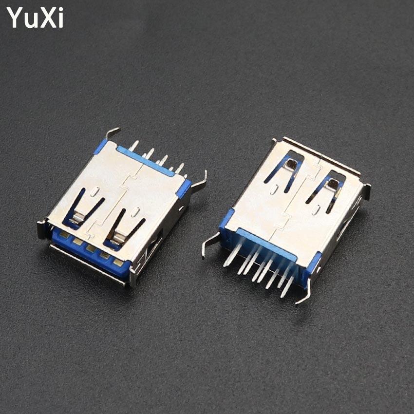 10 pces de alta velocidade usb3.0 jack dock tipo a 180 graus 9pin dip usb 3.0 fêmea soquete pcb conector solda porto interface dados