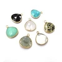 natural stone pendant necklace accessories waterdrop shape faceted agate crystal stone charm for jewelry making bracelet earring