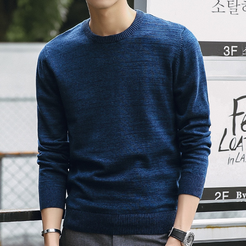 108 # jerséis de punto de algodón ajustados informal para hombre... jerséis de marca para hombre de ropa de punto
