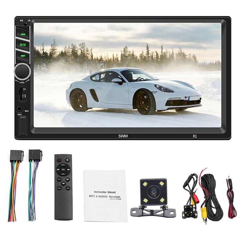 Reproductor Mp5 X1 de 7 pulgadas para coche, Radio Fm, Bt, Aux, Usb, con Control remoto, luces de colores, pantalla capacitiva de alta presión