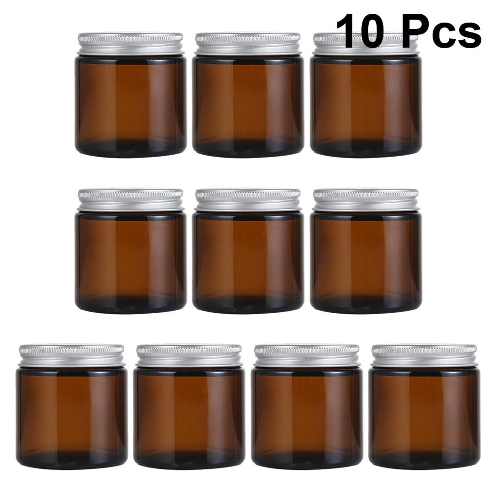 10 Uds 100ml DIY perfumado vela contenedor casero vela taza con jarra titular de vidrio Perfume botella de Aroma con cubierta marrón