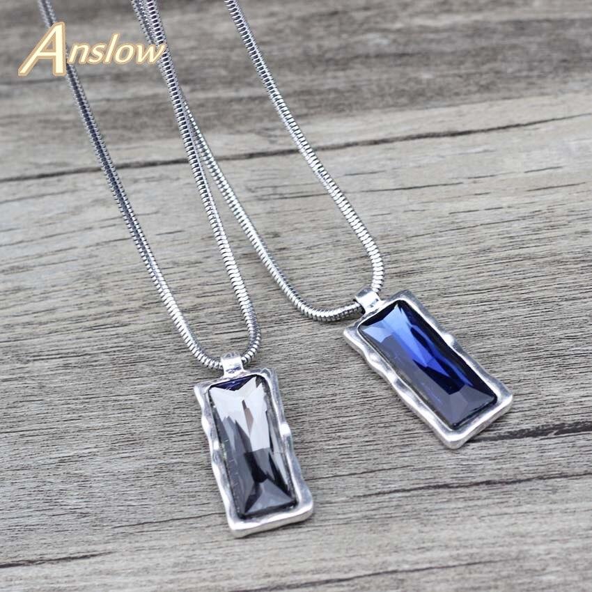 Marca Anslow, joyería de moda de alta calidad, COLLAR COLGANTE cuadrado de cristal corto para mujeres, regalo del Día de las madres LOW0085AN