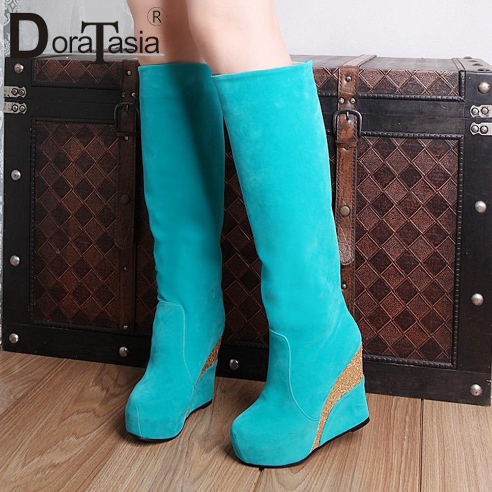 DORATASIA-حذاء نسائي بكعب عالٍ بطول الركبة ، أحذية مكتبية ، أحذية حفلات ، مقاس كبير 33-43