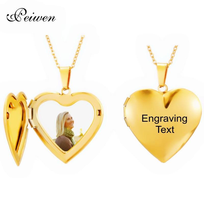 Пользовательские фото имя ожерелье из нержавеющей стали Сердце Медальон гравировка имя дата золотые ожерелья для женщин мужчин чокер шеи ювелирные изделия