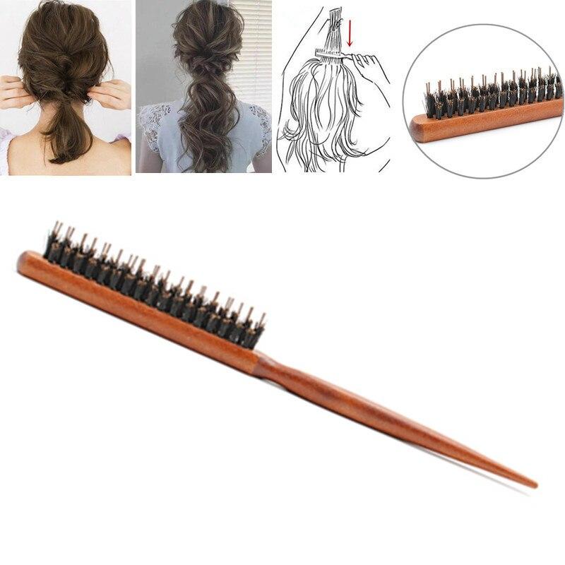 1 pieza profesional de salón de burlas cepillos de pelo de espalda de madera línea delgada peine cepillo de pelo extensión de peluquería utensilios de belleza y estilismo
