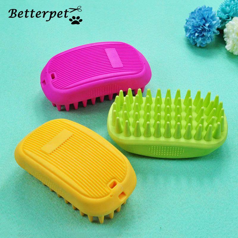 Professionnel chat de compagnie chien cheveux peigne brosse pour le bain nettoyage Massage plastique doux Silicone brosse peigne pour soins chiens chats brosse