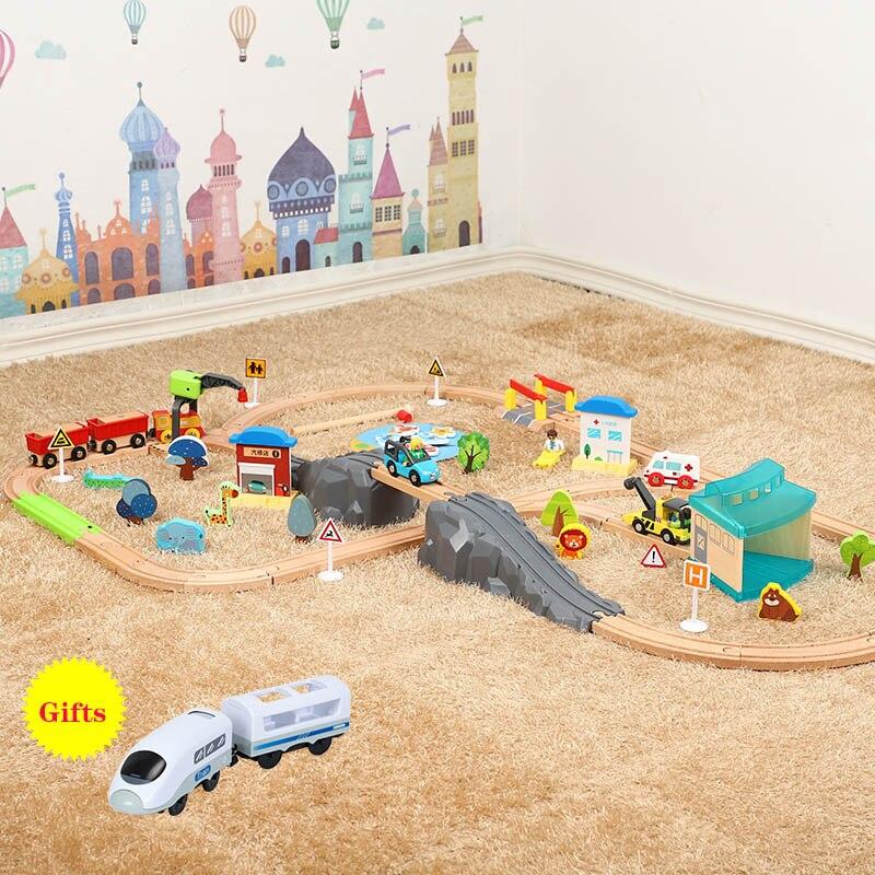 Trenes de madera, modelo de juguete ferroviario Compatible con Biro, todas las marcas, tren, juguetes educativos, 3D, juguete para niños EDWONE
