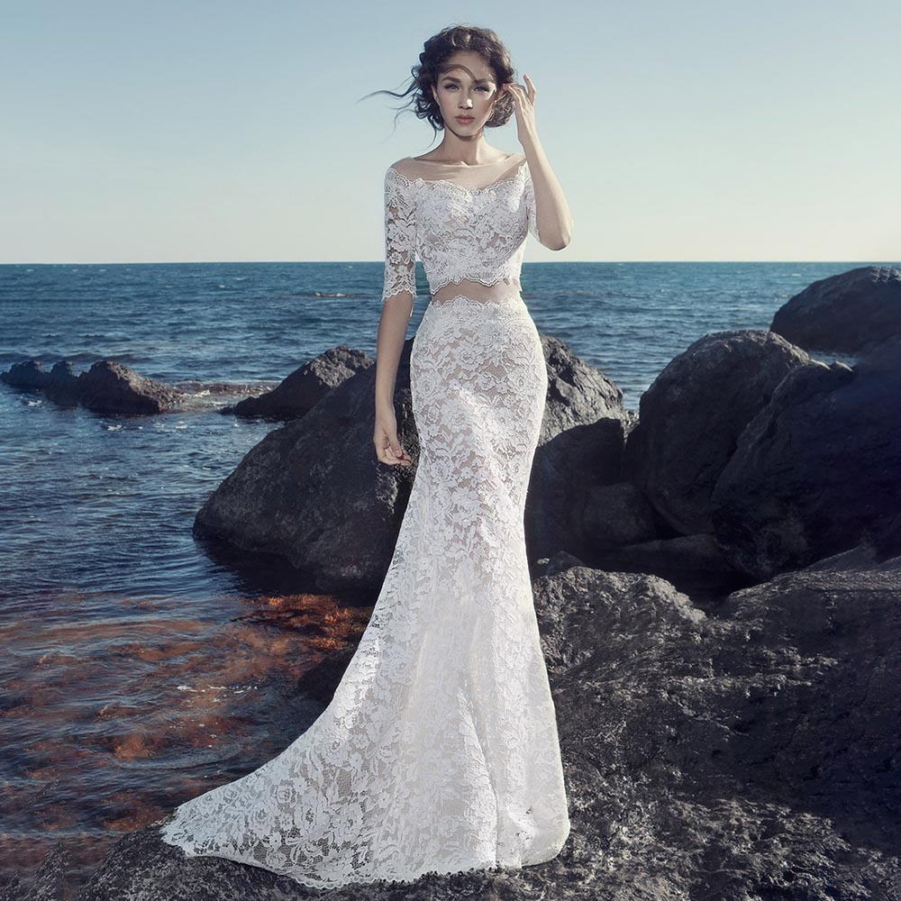 Promo Mermaid Half Sleeves Lace Wedding Dress Personalised Plus Size False Two Pieces Illusion Off Shoulder Zipper Beach Bridal Gowns