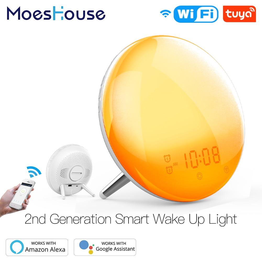 WiFi Smart Wake Up Light Workday Alarm Clock with 7 Colors Sunrise/Sunset Smart Life Tuya APP Works with Alexa Google Home