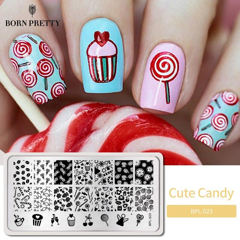 Nacido bastante caramelo lindo placa de sello de Arte de uñas imagen placas de estampado plantilla para uñas plantilla sello herramientas BP-L023 12,5x6,5 cm