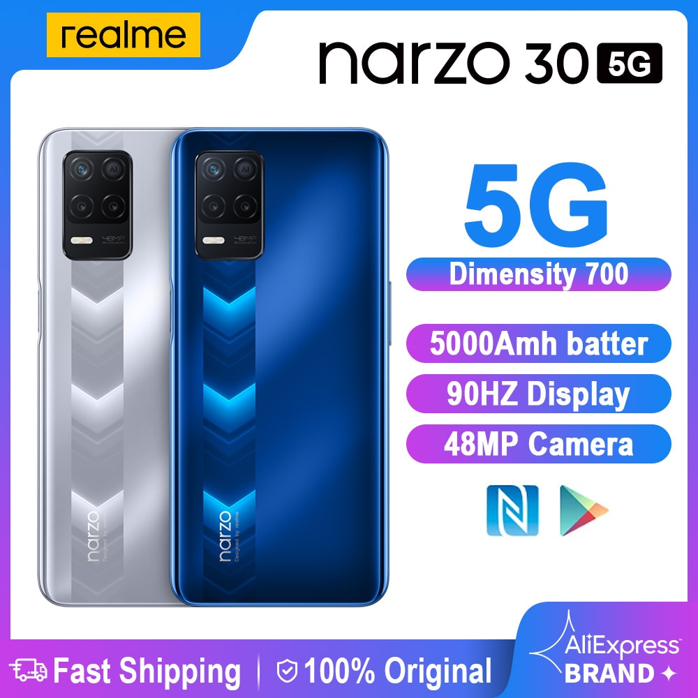 Перейти на Алиэкспресс и купить Realme Narzo 30 5G смартфонов NFC 6,5 дюймDimensity 700 48 МП Камера 5000 мА/ч, 18 Вт 4 Гб 128 Смарт Мобильный Сотовые телефоны глобальная версия