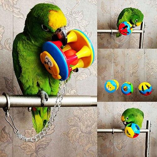 Animal de estimação bonito pássaro plástico mastigar bola corrente gaiola brinquedo para papagaio paraqueet animal de estimação papagaio brinquedo pássaro oco sino bola cesta frutas canário