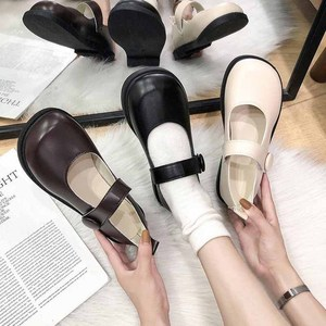 Japanese retro cute JK small leather shoes maryzhen shoes low top big shoes flat bottom chic college style
