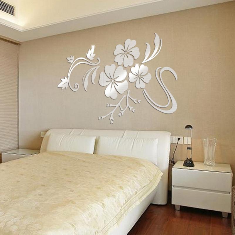 KAKUDER 3D flores espejo vinilo adhesivos removibles para pared etiqueta arte salón...