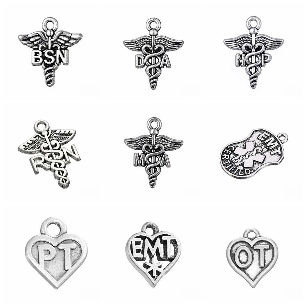 10pcs Medical Symbols Diabetic Ot Emt Bsn Ma Np Da Rn Ambulance Stethoscope Charms DIY Jewelry Making Antique Silver Color