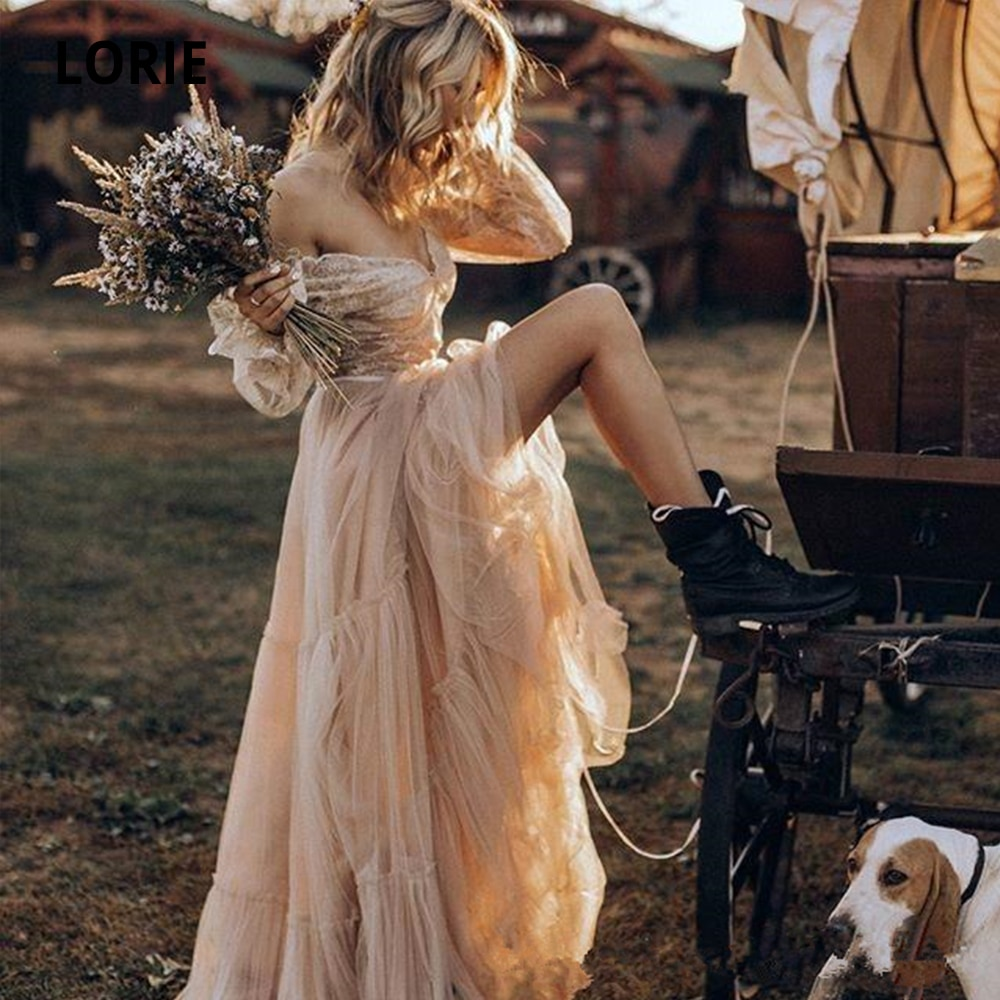 LORIE 2019 Charming Lace Garden Bohemian Wedding Dresses Boho Long Sleeve Sheer Arabic vestido de noiva Bridal Gown Ball Bride glittering sequins princess ball gown wedding dresses long sleeve sheer neck ruffle lace up back bridal gown vestido de noiva