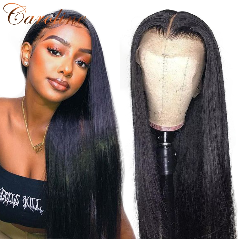 13x4 Lace Front Human Hair Wigs Pre Plucked Brazilian Straight Lace Front Wig 180 Density Lace Frontal Wig 4x4 Closure Wig Remy