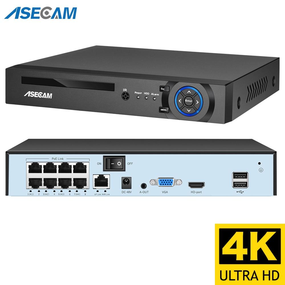 4k الترا HD POE NVR مسجل فيديو Onvif H.265 48 فولت 8MP IP كاميرا نظام الدائرة التلفزيونية المغلقة P2P شبكة AI كاميرا مراقبة الوجه