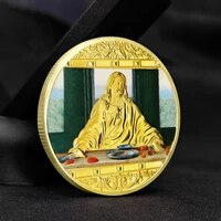 jesus last supper commemorative medallion foreign gifts gold silver and diamond plated cross coins da vinci crafts collection
