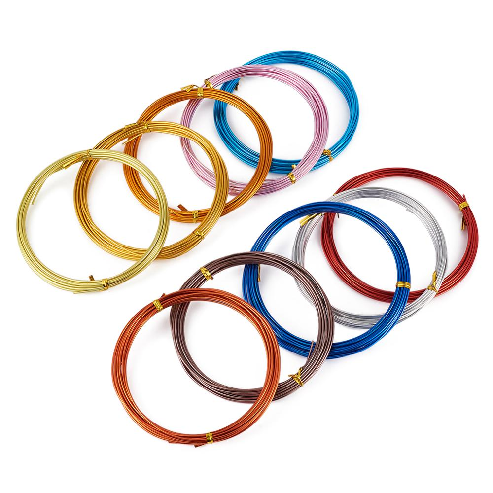 Cables de aluminio pandahoor de 5m/rollo para hacer joyería DIY, accesorios, suministros de adorno de 0,8-3mm, colores mezclados