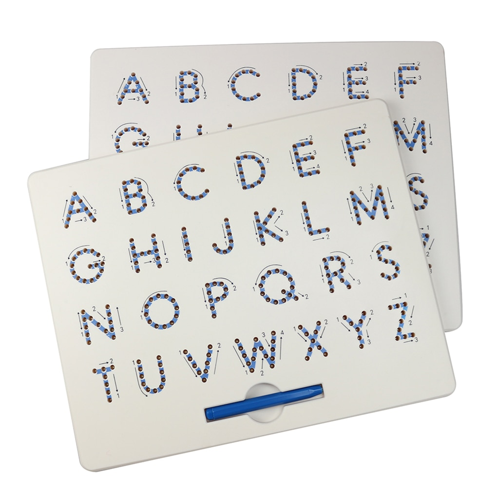 Herramienta de Graffiti para preescolar con tablero de dibujo de bolas de acero y letras mayúsculas para escritura magnética para niños
