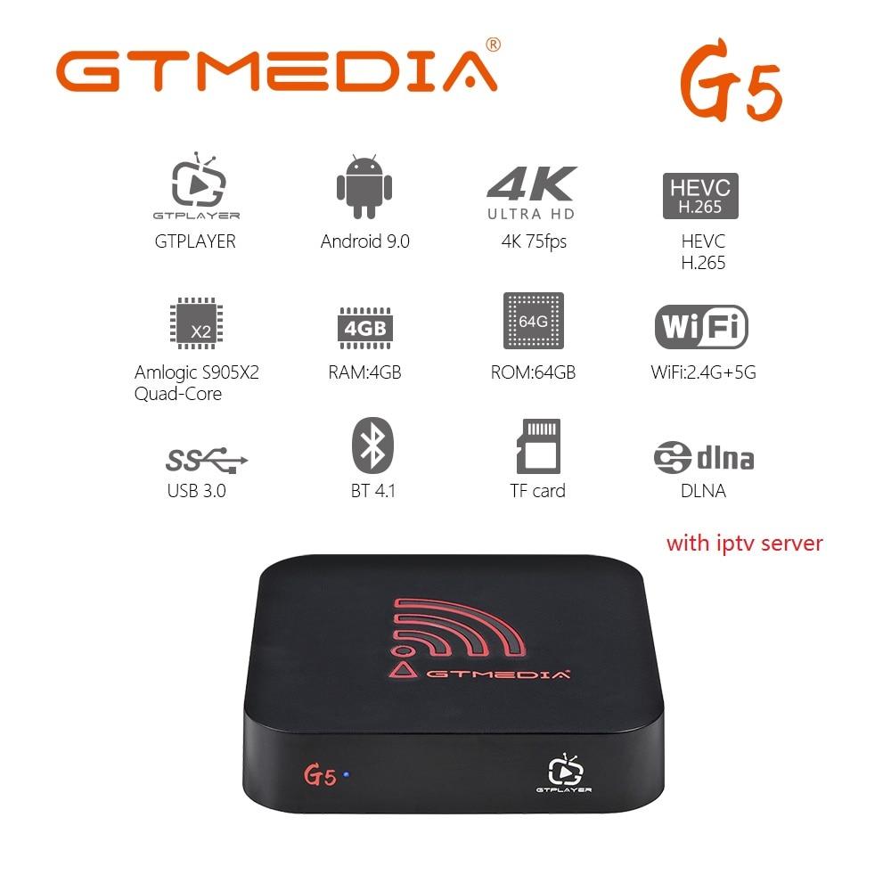 Caja de iptv GTmedia G5 android 9,0 caja de tv con 1 año de tv 1800 + m3u Bélgica árabe Marruecos iptv S905X2 Dispositivo de tv inteligente 4GB 64GB