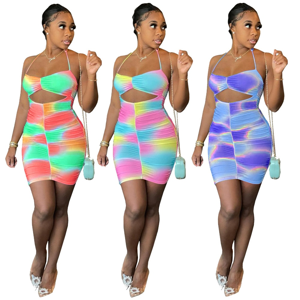 Mini Dress Women Sexy Backless Slim Fit Bodycon Party Club Dress Pleated Stretch Short Club Dress Cut Out Dresses Fitted Dresses