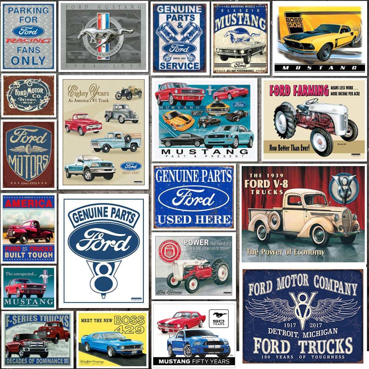 Placa de coche moderna, clásico Ford Mustang, letrero de estaño de Metal para decoración de pared, cartel Retro de lata para Bar o garaje