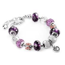 ATTRACTTO violet chien chat griffe Bracelets & Bracelets pour femmes coeur bracelet à breloque damour bijoux cristal Bracelets faits à la main SBR190396