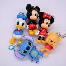 Disney Mickey Mouse dibujos animados muñeca de colgante conjunto de muebles coche llavero bolsa de los niños colgante muñeca Minnie modelo niña Niño de juguete de regalo