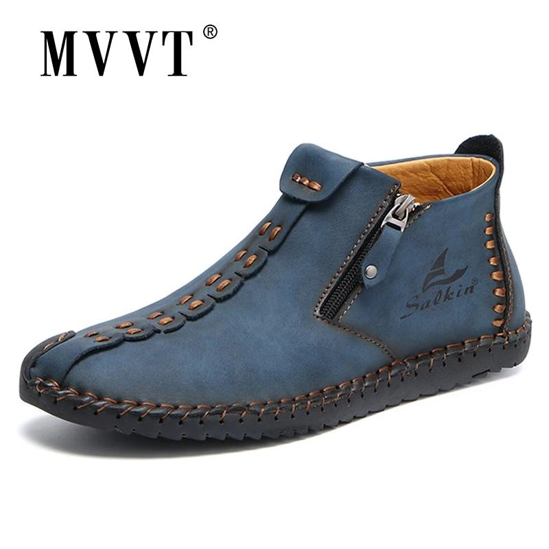 أحذية جلدية مع طبقات يدوية للرجال ، أحذية غير رسمية ، مانعة للانزلاق ، براءات الاختراع ، مع سحاب ، للكاحل ، عرض رائع ، 2021