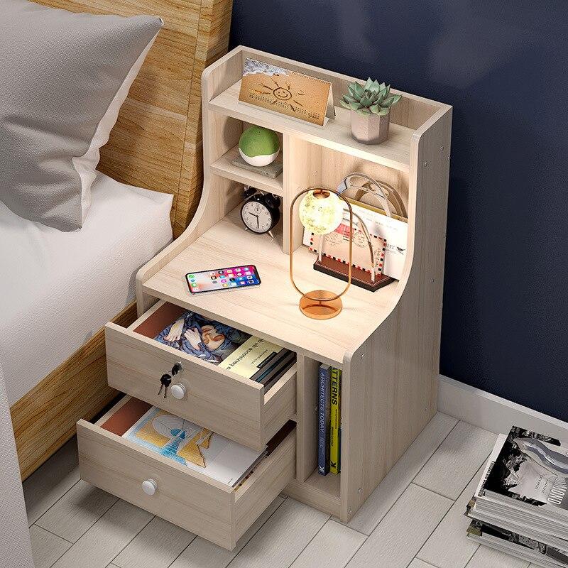Простой современный прикроватный столик, простая полка, прикроватный столик для спальни, имитация массива дерева, шкаф для хранения, белая ...