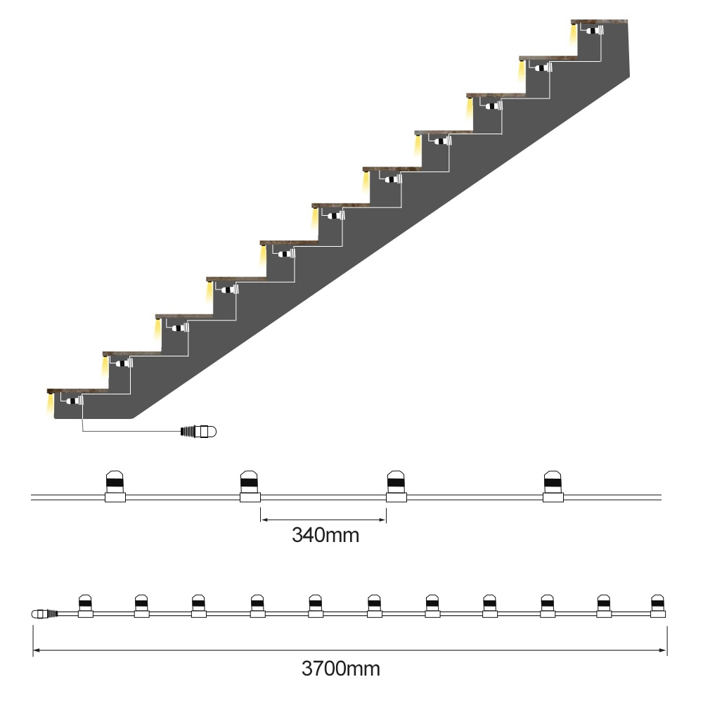 11 Steps Warm White 0.5M Staircase LED Lighting with RF remote dimmer-Plug and Play enlarge